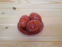 Пасхальная тарелочка из 3-х расписных яиц 6х4 см красного цвета