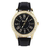 Наручные часы Geneva с камешками и рымским циферблатом черные