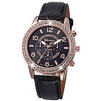 Наручные часы Geneva с камешками черные
