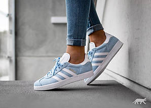 Женские кроссовки Adidas Gazelle Clear Sky/White, фото 3