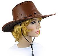 """Шляпа """"Ковбоя"""" (кожа, коричневая)"""