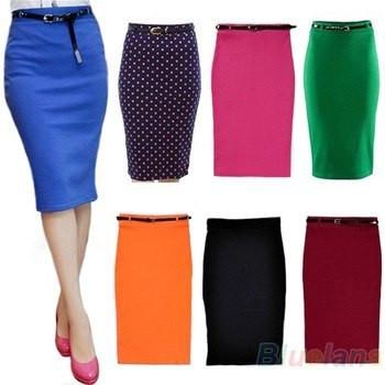 Классическая трикотажная юбка до колена