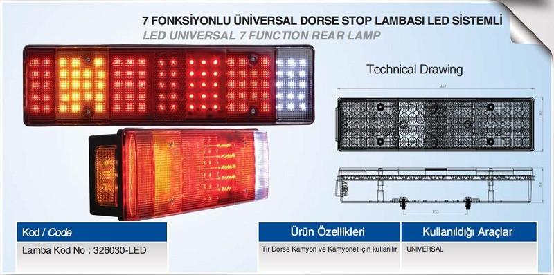 Задний диодный универсальный фонарь 7-ми секционный