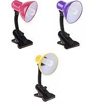 Лампа настольная 108 с прищепкой для стола, с регулятором яркости света (220 В) разные цвета
