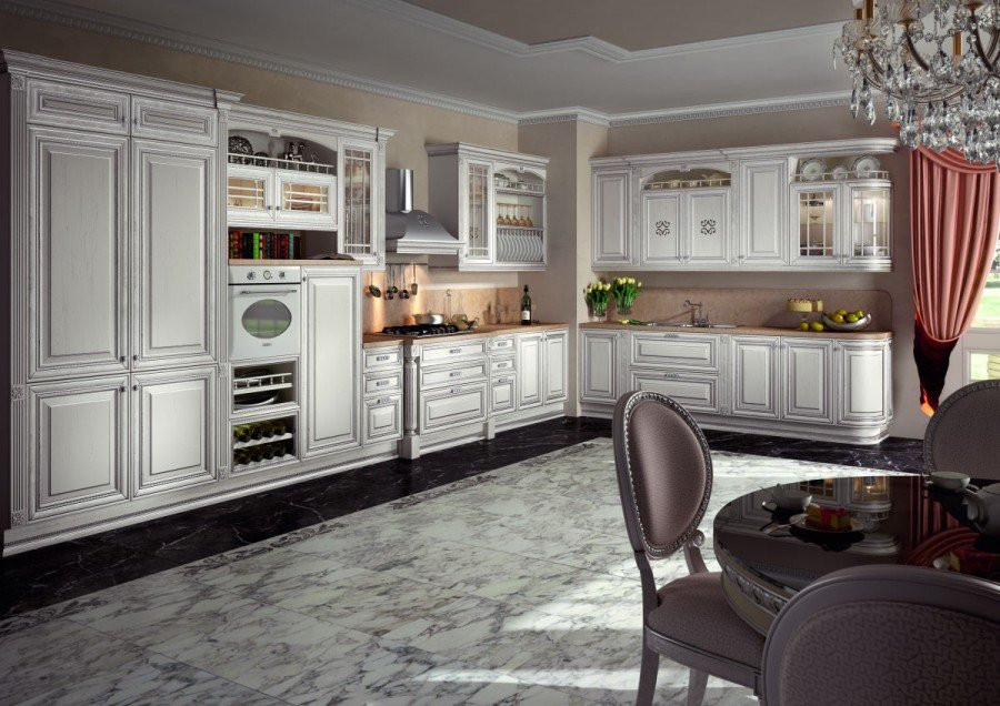 эскиз кухни Фламиния сделан с помощью дизайнерской программы 3Dmax.