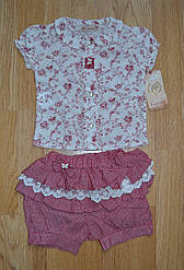 Летний комплект для девочки (блуза+шорты), 6-9 мес, Cassiope (Турция)