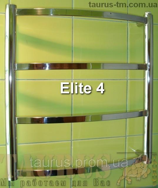 Маленький н/ж полотенцесушитель Elite 4/ 450х450 мм з дугоподібною прямокутної труби. Електро. Україна