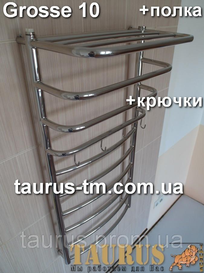 Водяной полотенцесушитель Grosse 10-4 ширина 500мм (нержавеющая сталь).