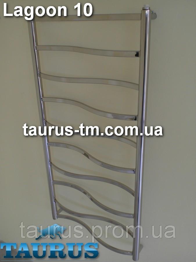 Метровый узкий полотенцесушитель Lagoon 10/1050х400 от TAURUS. Перемычки волной из прямоугольной трубы 20х10