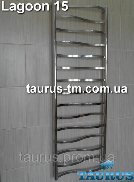 Гигантский полотенцесушитель Lagoon 15 / 1550x50, с перекладинами 20х10 в форме волны. Для больших комнат