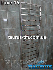 Высокий огромный полотенцесушитель Luxe 15 /1550х500 из н/ж стали AISI304. Плоские перемычки трапеция 20х10 мм