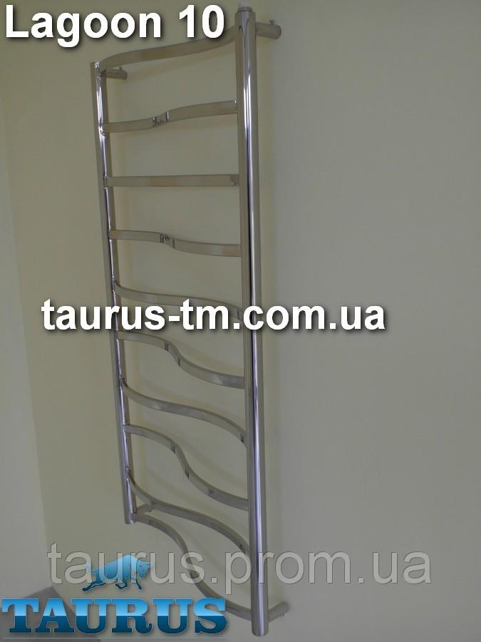 Дизайнерский полотенцесушитель Lagoon 10 от ТМ TAURUS. Ширина 500 мм.