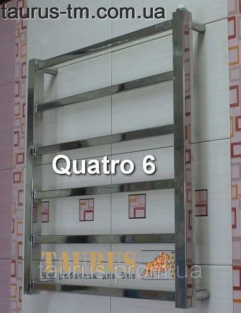 Узенький полотенцесушитель Quatro 6/ 650х400. Гибридная модель (вода и/или электро). Современный