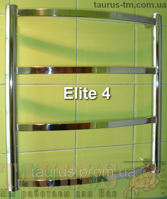 Невисокий полотенцесушитель Elite 4/ 450х400 мм з нержавіючої сталі з прямокутної гнутої трубою. Електро. Україна