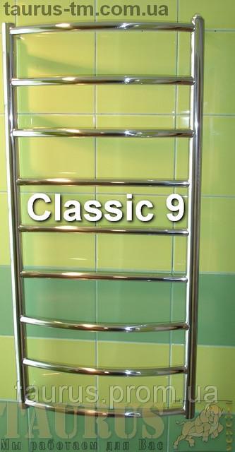 Классический полотенцесушитель лесенка Classic 9/ 950х400 мм из н/ж стали с круглой дугообразной перемычкой