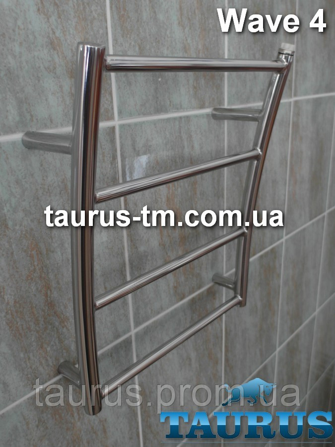 Компактная водяная сушилка Wave 4/400 мм в форме морской волны в ванную комнату. 1/2. Украина.