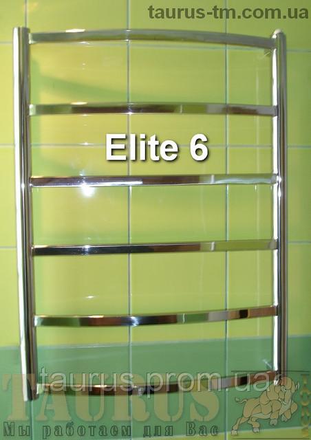 Невысокий нержавеющий полотенцесушитель Elite 6/ 650х400 мм с прямоугольной перемычкой. 1/2. Электро
