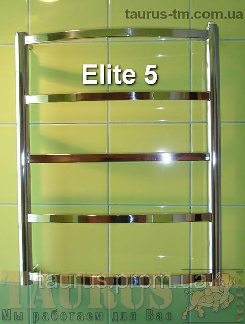 Невеликий універсальний полотенцесушитель Elite 5/ 550х450 мм з н/ж сталі з дугоподібною перемичкою. 1/2
