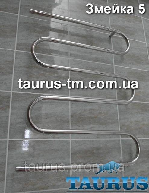 """Полотенцесушитель Змійка 5 колін з нержавіючої сталі; Висота-920мм. Водяна, 1/2"""" різьблення. Ширина"""