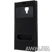 Чехол книжка с окошком для LG L90 черный
