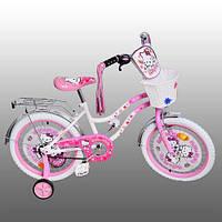 "Детский велосипед Hello Kitty (Хелло Китти) 14"", белые колеса."