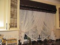 Кухонная занавесь с тюль,кисти-прихваты,римская штора шоколадного цвета сверху