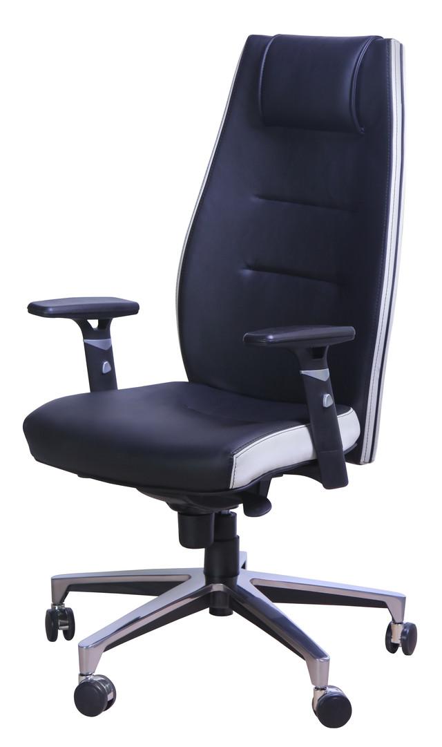 Кресло Элеганс НВ Неаполь-20 (черный) боковины задник Неаполь-50 (белый)
