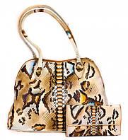 Подарочный набор кожаный женский рептилия (сумка, кошелек) ручная работа