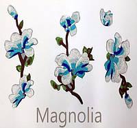 Ветки магнолии голубые цветы наклейка термоапликация для одежды