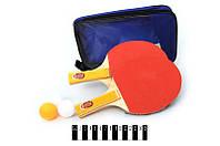Теннисные ракетки 6678р, 3-шарика, чехол, сетка, размер: 27х16,5х3,5 см