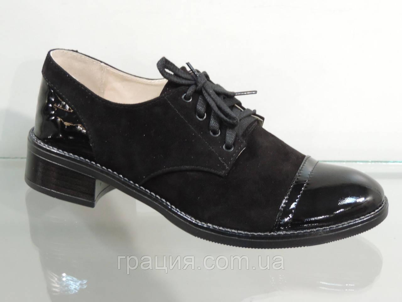 Стильные женские туфли на шнуровке лак/замша натуральная