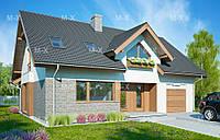 MX104. Стильный мансардный дома с камином