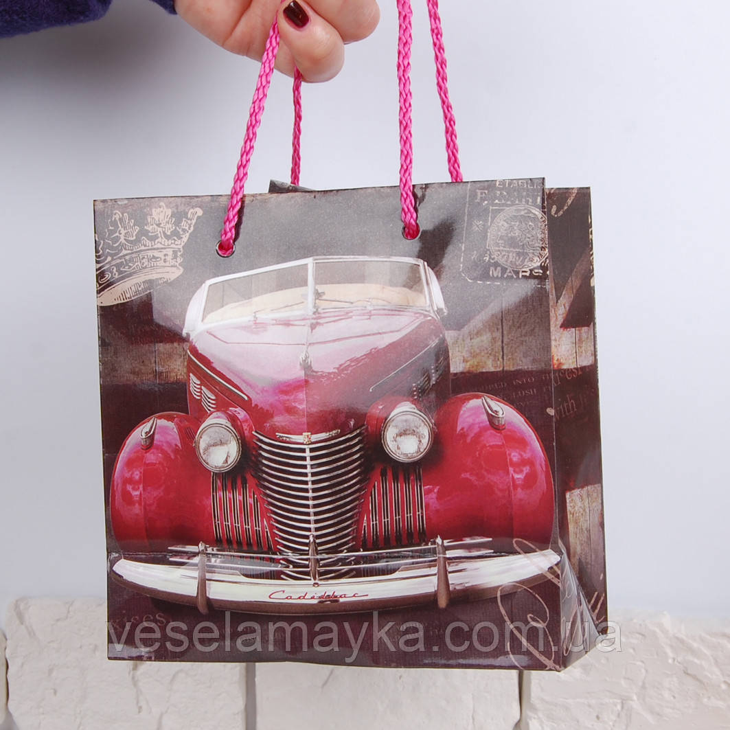 Подарунковий пакет для чашки (Червона машина)