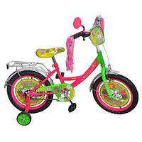 """Велосипед детский Miss Butterfly 16"""", черные колеса."""