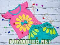 Детский летний костюм р. 98 для девочки тонкий ткань КУЛИР 100% хлопок ТМ Ромашка 3563 Розовый