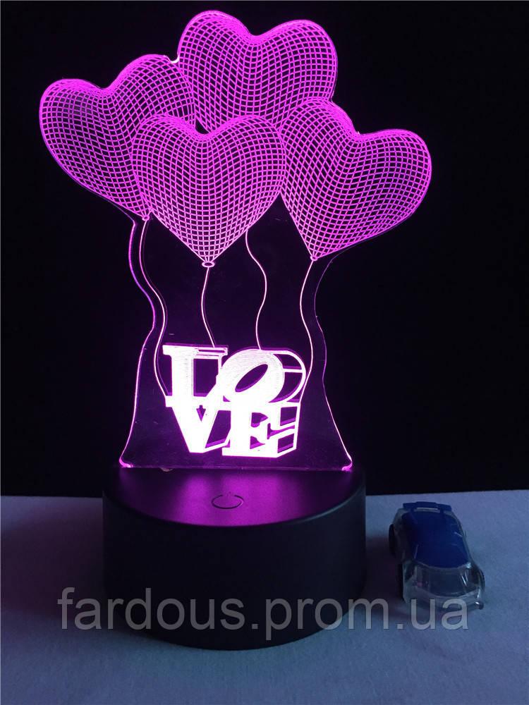 """LED ночник / светильник """"воздушные шары Love"""". Меняет 7 цветов - «Fardous» в Днепре"""