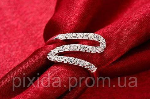 Кольцо Зигзаг инкрустация кристаллами 925 серебро проба