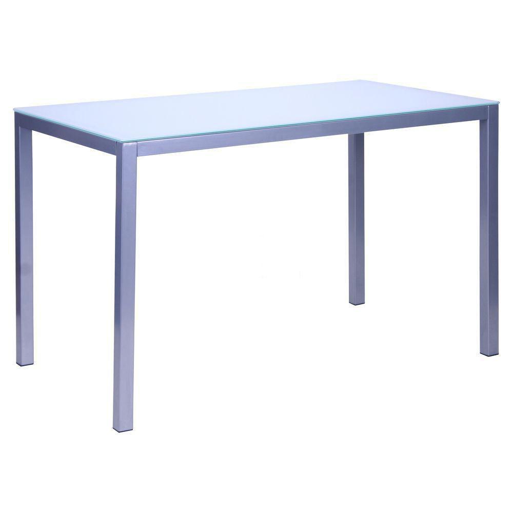 Стол обеденный Родос 1200*700*750 База алюм/Стекло пескоструйка