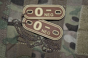 JTG O Neg Blood Type Dog Tags Desert