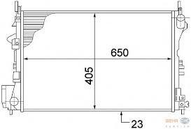 Радиатор охлаждения Opel Vectra C (1.6-1.8 механика AC+) 650*405мм по сотах KEMP