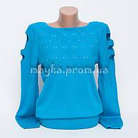 Кофта женская с вырезами на рукавах трикотаж голубая р.46-48 AL35-2