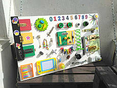 "Развивающая доска именная для детей ""Busy Board"", по методики Монтессори, размер 100х60, материал ДСП"