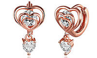 Сережки Любовь или Сердце в кубе покрытие 18К золото фианиты