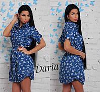Женское модное джинсовое платье с принтом и поясом (2 цвета), фото 1