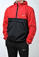 Ветровка, анорак Nike водооталкивающая ткань черный с красным /