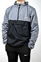 Ветровка, крутой анорак - Nike водооталкивающая ткань черный с серым