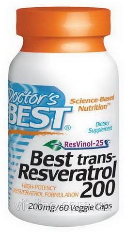 Doctor's Best, Транс-ресвератрол, таблетки 60 овощных капсул
