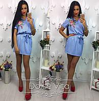 Женское стильное платье с поясом в полоску и вышивка, фото 1