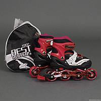 Ролики 1002 M размер 34-37см, Best Rollers, колёса PU, в сумке, переднее колесо со светом d=7 cм, красные
