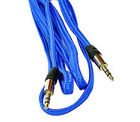 Кабель  AUX Jack 3.5mm - Jack 3.5mm ткань плоский blue